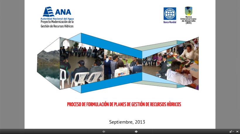 Proceso de Formulación de Planes de Gestión de Recursos Hídricos en Cuencas