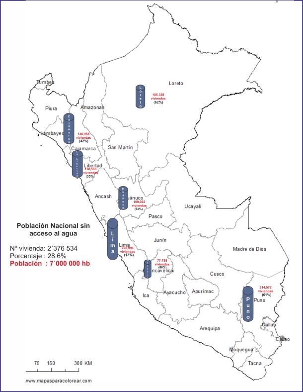 Mapa del Perú sin acceso a agua potable