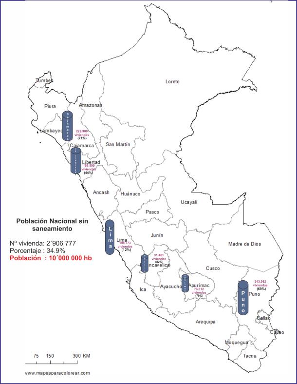 Mapa del Perú sin saneamiento