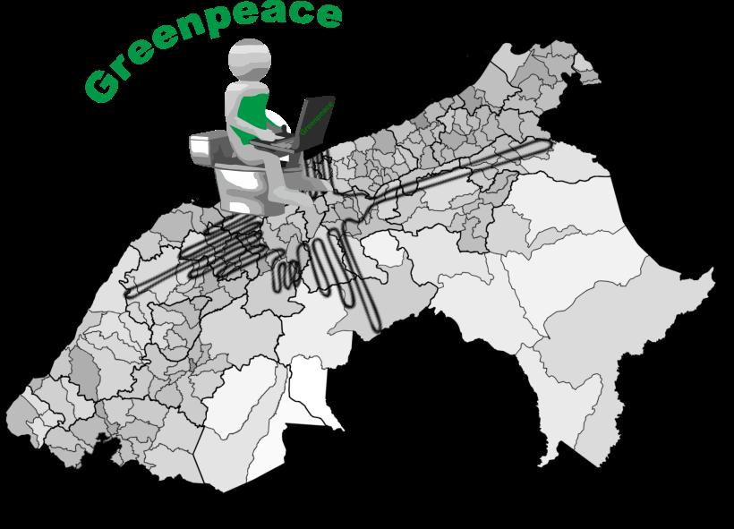 Atentado a las líneas de Nasca por Greenpeace