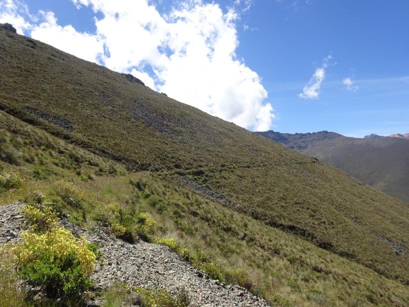 Trayectoria del canal Huiructac a mas de 4,000 mnsm
