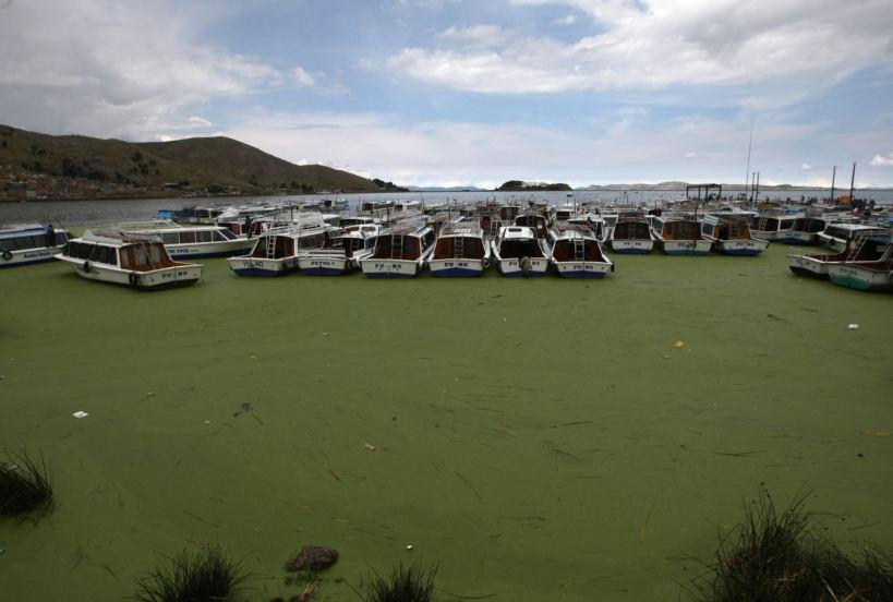 Lago Titicaca con evidentes signos de contaminación