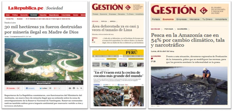 Noticias cotidianas sobre la Amazonía