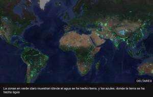 La zonas en verde claro muestran dónde el agua se ha hecho tierra, y los azules, donde la tierra se ha hecho agua
