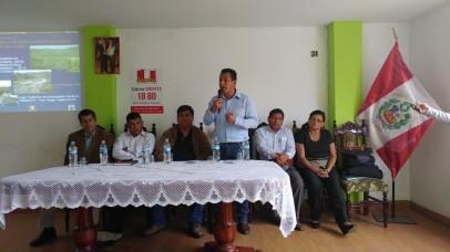 En Pariacoto en reunión con Alcaldes de la cuenca Alta para ver un Fondo del Agua...