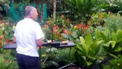 Luego apreciar el cuidado de Sandalio a las aves que cada mañana lo visitan es digno de resaltar. Vimos como alimentaba a una amplia variedad de aves, con plátano que coloca en un mueble para que ellos vengan a alimentarse